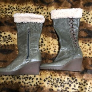UGGS Leather Wedge Boots